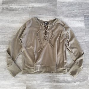 Olive Laced Up F21 Oversized Sweater Long Sleeve